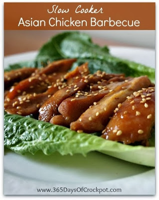 Slow Cooker Asian Chicken Barbecue from 365 Days of Slow Cooking featured on Slow Cooker or Pressure Cooker at SlowCookerFromScratch.com