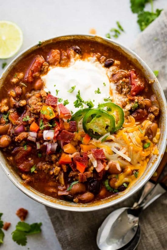 Three Easy Recipes for Turkey Chili featured on Slow Cooker or Pressure Cooker at SlowCookerFromScratch.com