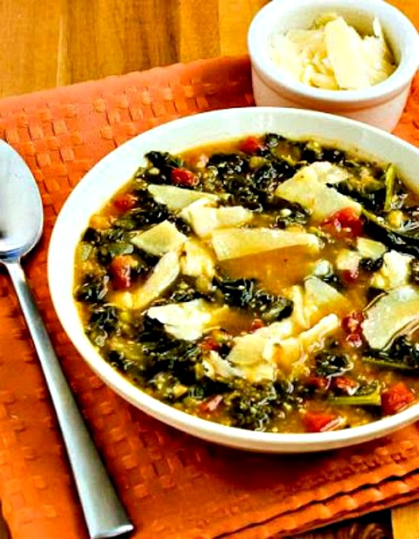 Slow Cooker Vegetarian Cannellini Bean and Kale Soup with Shaved Parmesan from Kalyn's Kitchen