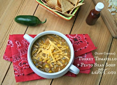 Slow Cooker Turkey Tomatillo, and Pinto Bean Soup with Corn from Everyday Maven featured on SlowCookerFromScratch.com