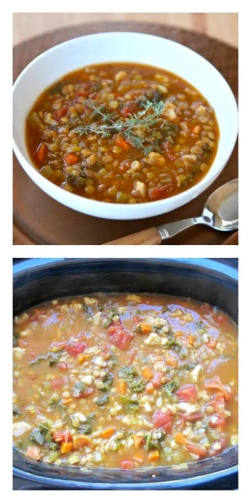 Slow Cooker Lentil Caulflower Stew from The Shiksa in the Kitchen featured on SlowCookerFromScratch.com