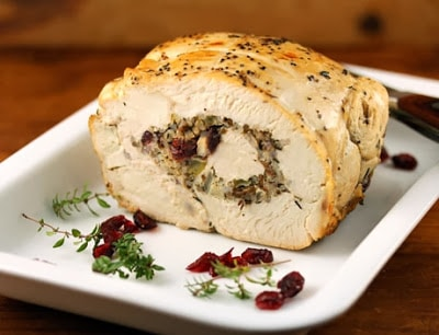 Slow Cooker Turkey Breast Stuffed with Wild Rice and Cranberries