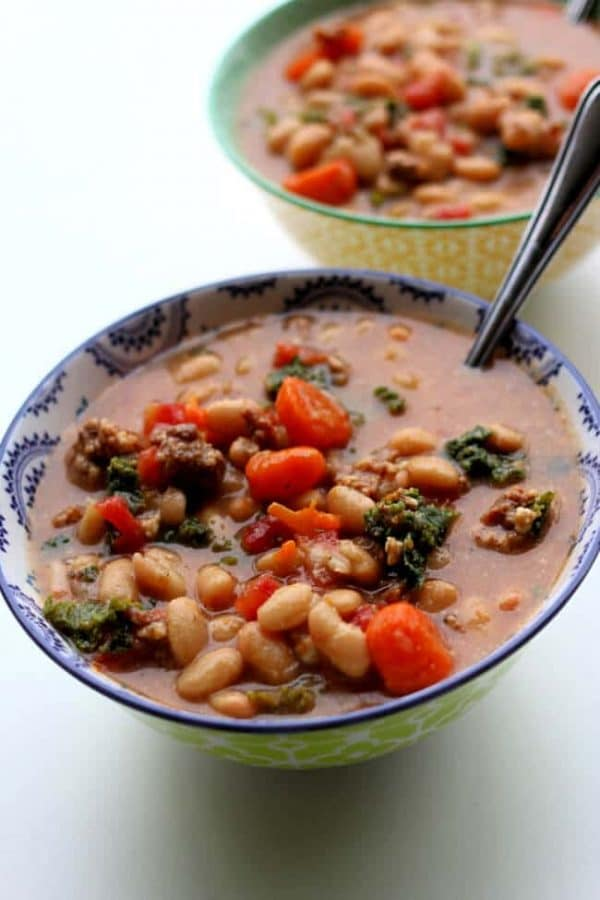 Instant Pot Tuscan Sausage White Bean Soup from 365 Days of Slow + Pressure Cooking