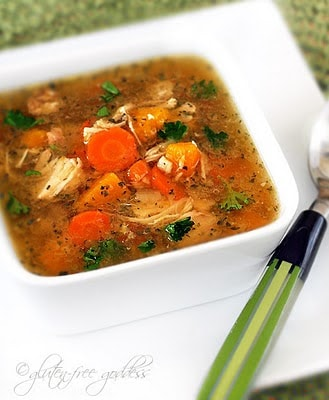 Slow Cooker Gluten-Free Turkey Soup from Gluten Free Goddess featured on Slow Cooker or Pressure Cooker at SlowCookerFromScratch.com.