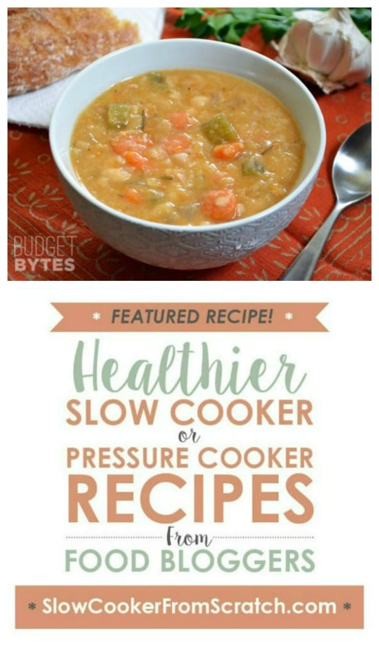 Slow Cooker Vegan White Bean Soup from Budget Bytes featured on Slow Cooker or Pressure Cooker at SlowCookerFromScratch.com