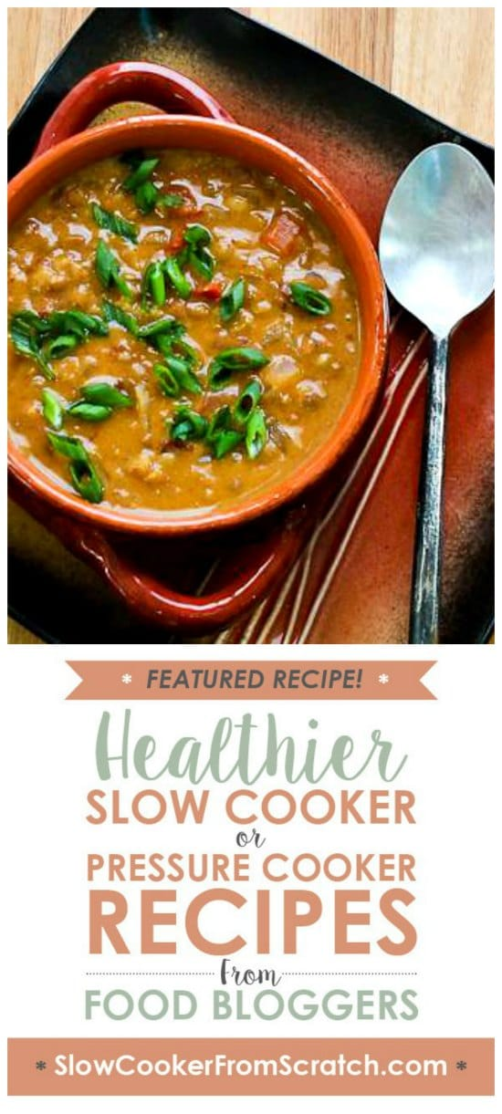 African Inspired Vegan Slow Cooker Soup with Peanut Butter, Chiles, Brown Rice, and Lentils from Kalyn's Kitchen found on Slow Cooker or Pressure Cooker at SlowCookerFromScratch.com