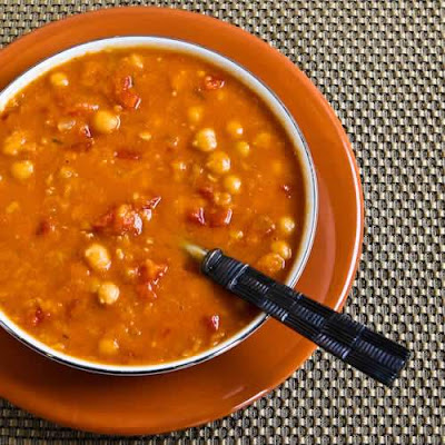 Slow Cooker Soup with Red Lentils, Chickpeas, Tomatoes, and Smoked Paprika.