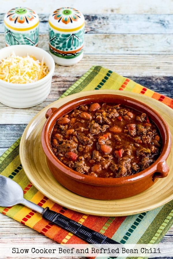 Slow Cooker Beef and Refried Bean Chili from Kalyn's Kitchen