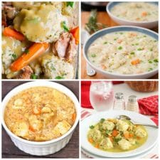 Four Fabulous Recipes for Chicken and Dumplings featured on Slow Cooker or Pressure Cooker at SlowCookerFromScratch.com