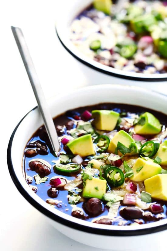 Four Fabulous Recipes for Black Bean Chili featured on Slow Cooker or Pressure Cooker at SlowCookerFromScratch.com