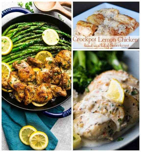 Three Appetizing Recipes for Lemon Chicken (Slow Cooker or Pressure Cooker) featured on Slow Cooker or Pressure Cooker at SlowCookerFromScratch.com