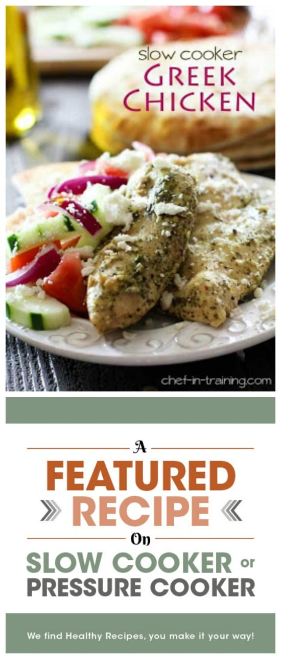 Slow Cooker Greek Chicken from Chef in Training featured on Slow Cooker or Pressure Cooker