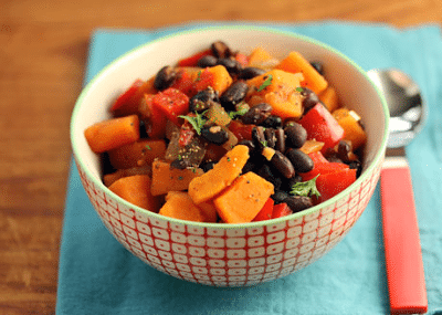 Slow Cooker Vegan Black Bean and Sweet Potato Stew from The Perfect Pantry found on SlowCookerFromScratch.com