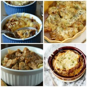 Slow Cooker and Instant Pot French Onion Soup (and Recipes with French Onion Flavors!) top photo collage