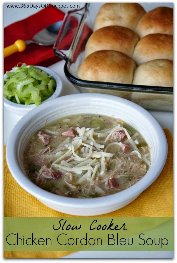 Chicken Cordon Bleu Soup from 365 Days of Slow Cooking featured on SlowCookerFromScratch.com