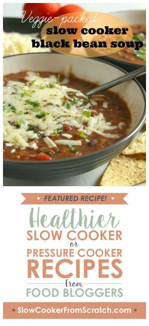 Veggie-Packed Slow Cooker Black Bean Soup from Amuse Your Bouche featured on Slow Cooker or Pressure Cooker!