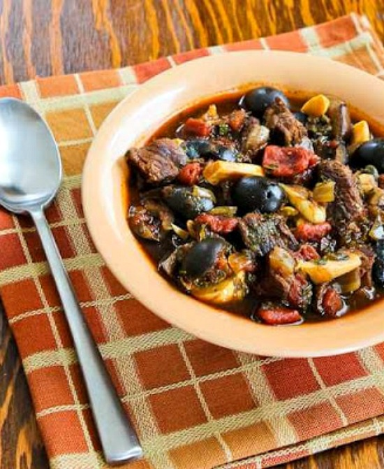 Slow Cooker Low-Carb Mediterranean Beef Stew with Rosemary and Balsamic Vinegar from Kalyn's Kitchen