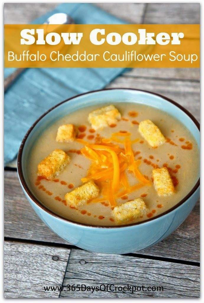 Slow Cooker Buffalo Cheddar Cauliflower Soup From 365 Days Of Slow Pressure Cooking Slow