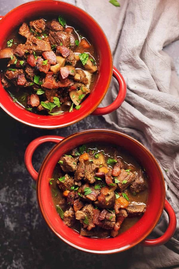 Keto Beef Stew with Bacon and Mushrooms from Jenifer Banz