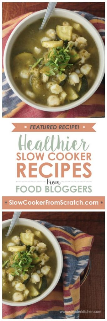 Slow Cooker Vegetarian Pozole from Slender Kitchen featured on SlowCookerFromScratch.com