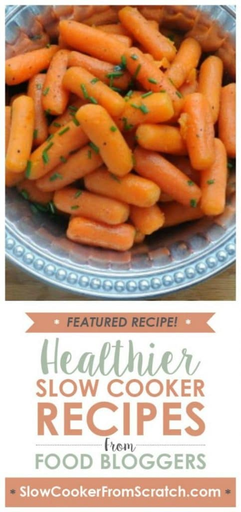 Easy-Easy Slow Cooker Honey Carrots from A Veggie Venture featured on SlowCookerFromScratch.com