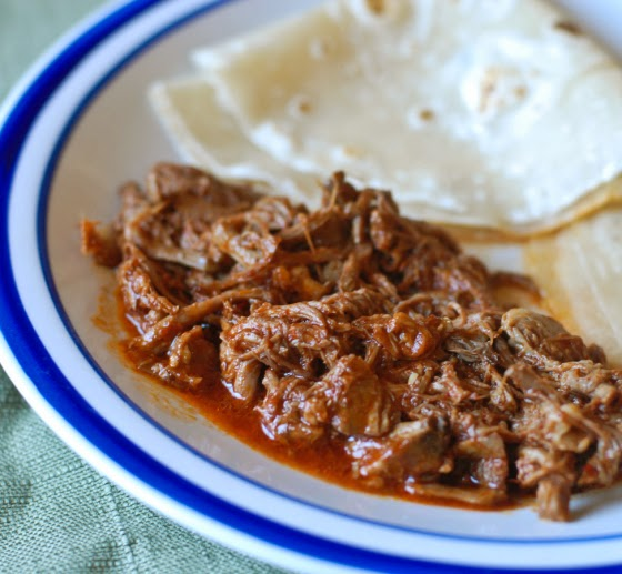 Slow Cooker Red Chile Beef (with homemade red chile sauce) by From Scratch to Plate, featured on SlowCookerFromScratch.com.