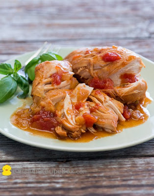 Slow Cooker Tomato Sriracha Chicken from Best Recipe Box featured on SlowCookerFromScratch.com