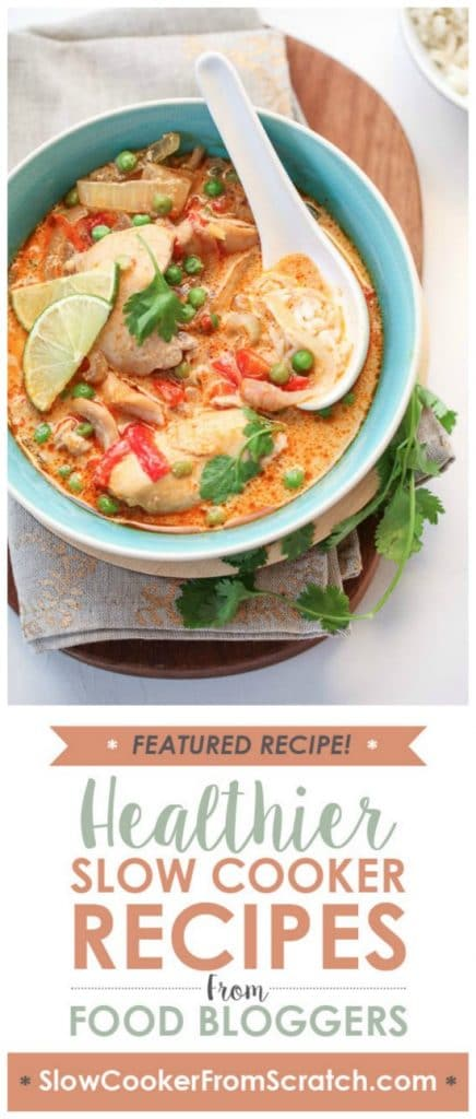 Slow Cooker Thai Chicken Soup from FoodieCrush featured on SlowCookerFromScratch.com