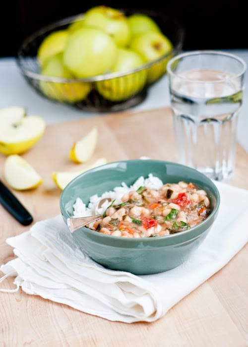 Slow Cooker Vegan White Bean Vegetable Stew from Cafe Johnsonia featured on SlowCookerFromScratch.com