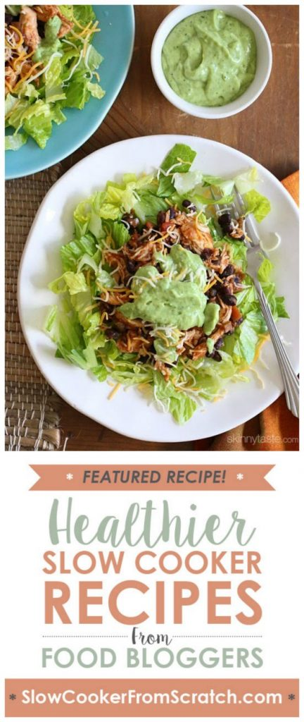 Easy Crock Pot Chicken and Black Bean Taco Salad from Skinnytaste featured on SlowCookerFromScratch.com