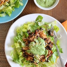 Easy Crock Pot Chicken and Black Bean Taco Salad from Skinnytaste featured on Slow Cooker or Pressure Cooker at SlowCookerFromScratch