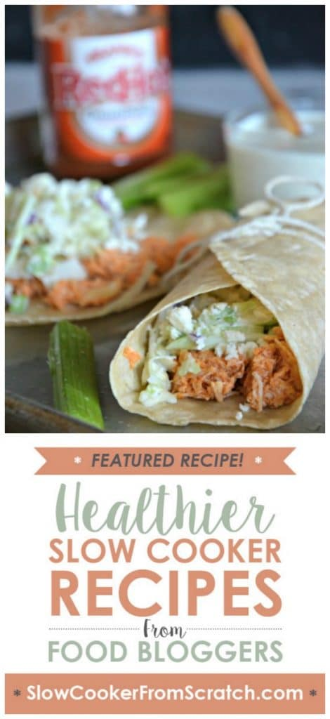 Slow Cooker Buffalo Chicken Tacos with Blue Cheese Slaw from Mountain Mama Cooks found on SlowCookerFromScratch.com