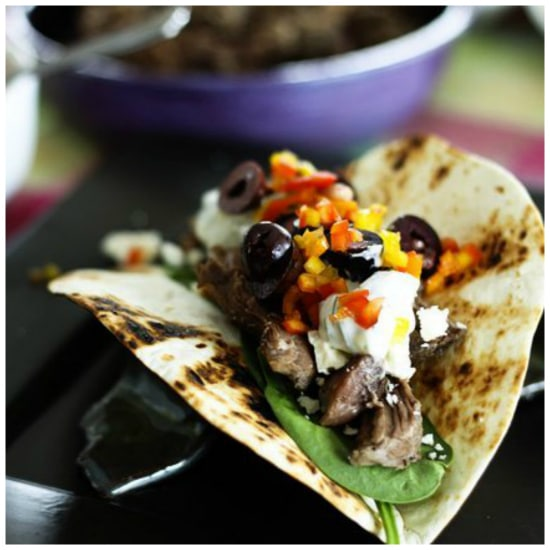 Four Fabulous Recipes for Greek Tacos featured on Slow Cooker or Pressure Cooker at SlowCookerFromScratch.com