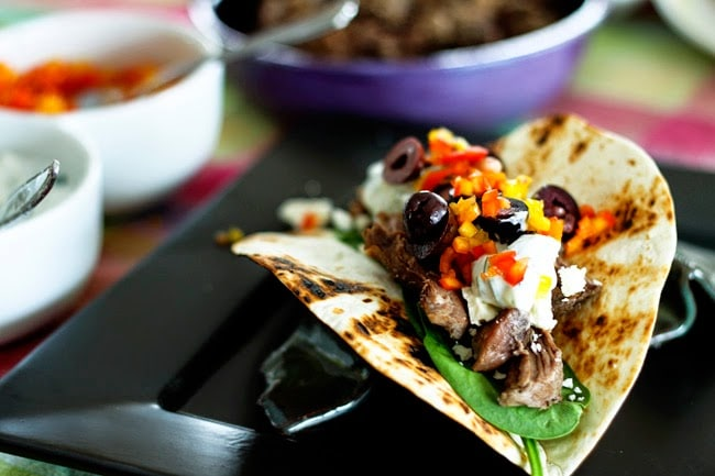 Slow Cooker Garlicky Lamb Greek Tacos from Foodie with Family found on SlowCookerFromScratch.com