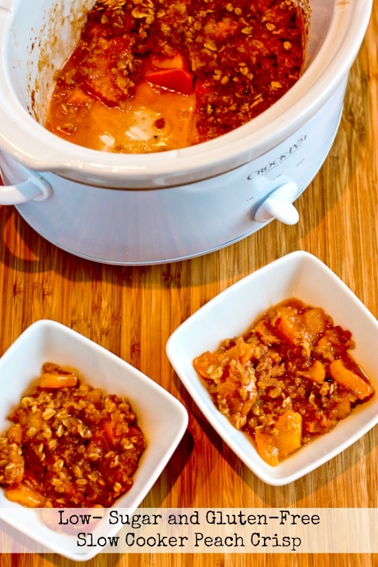 Low-Sugar and Gluten-Free Slow Cooker Peach Crisp from Kalyn's Kitchen featured on SlowCookerFromScratch.com