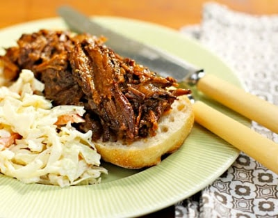 Slow-Cooker Sweet and Smoky Beef from The Perfect Pantry featured on SlowCookerFromScratch.com