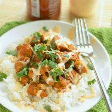 CrockPot Honey Sriracha Chicken from Slow Cooker Gourmet featured on Slow Cooker or Pressure Cooker at SlowCookerFromScratch.com