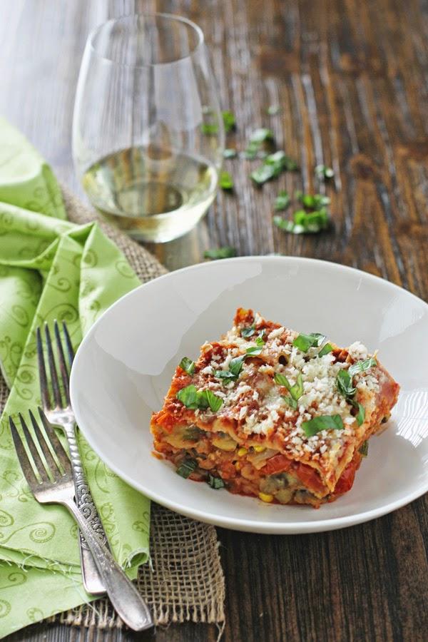 Summer Slow Cooker Vegetarian Lasagna with Eggplant and Zucchini from Oh My Veggies featured on Slow Cooker or Pressure Cooker at SlowCookerFromScratch.com