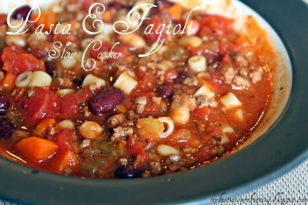 Slow Cooker Pasta e Fagioli Soup with Ground Beef from My Biscuits are Burning featured on Slow Cooker or Pressure Cooker at SlowCookerFromScratch.com