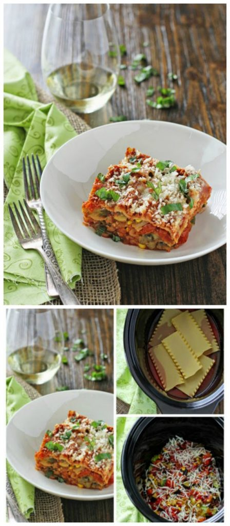 Summer Slow Cooker Vegetarian Lasagna with Eggplant and Zucchini from Oh My Veggies featured on SlowCookerFromScratch.com