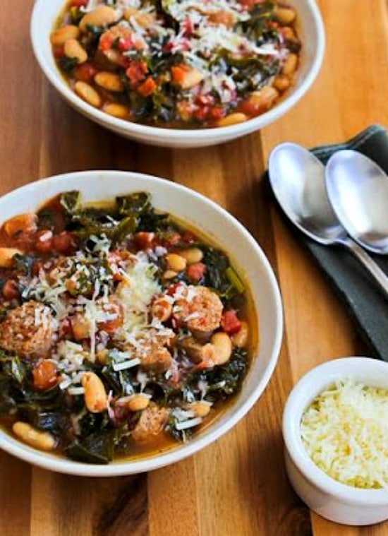 Slow Cooker Cannellini Bean Stew with Tomatoes, Italian Sausage, and Kale from Kalyn's Kitchen featured on Slow Cooker or Pressure Cooker at SlowCookerFromScratch.com