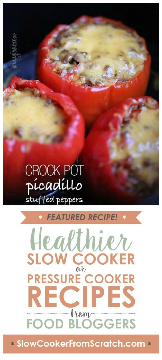 Crock Pot Picadillo Stuffed Peppers from Skinnytaste featured on Slow Cooker or Pressure Cooker at SlowCookerFromScratch.com