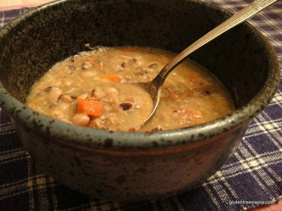 Slow Cooker Black-Eyed Pea Soup with Ham and Chicken from Gluten-Free Easily featured on Slow Cooker or Pressure Cooker at SlowCookerFromScratch.com