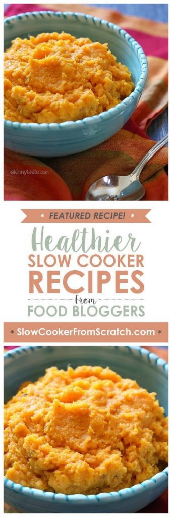 Slow Cooker Garlic Sweet Potato Mash from Skinnytaste featured on SlowCookerFromScratch.com