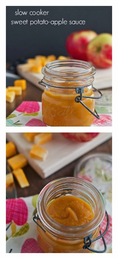 Slow Cooker Sweet Potato-Apple Sauce from Yankee Kitchen Ninja featured on SlowCookerFromScratch.com