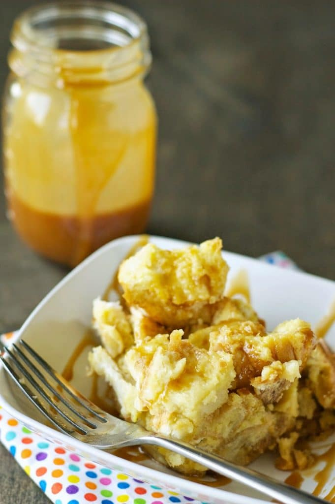 Crockpot Bread Pudding with Salted Caramel Sauce from Crockpot Gourmet featured on SlowCookerFromScratch.com