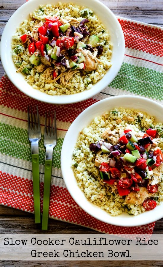 Low-Carb Slow Cooker Cauliflower Rice Greek Chicken Bowl from Kalyn's Kitchen [featured on SlowCookerFromScratch.com]