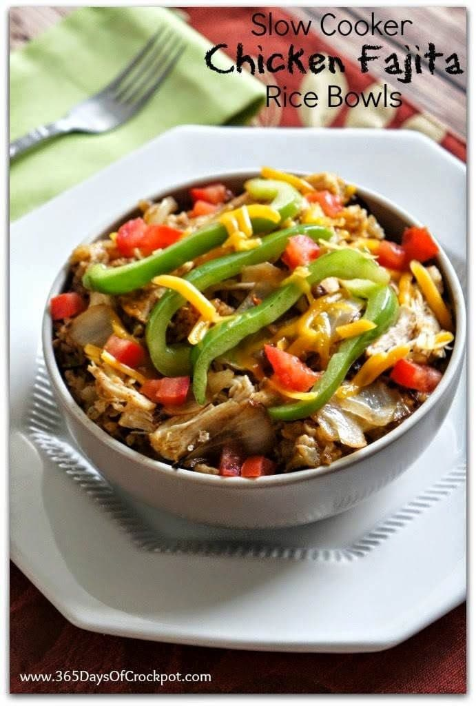 Slow Cooker Chicken Fajita Rice Bowls from 365 Days of Slow Cooking featured on Slow Cooker or Pressure Cooker at SlowCookerFromScratch.com
