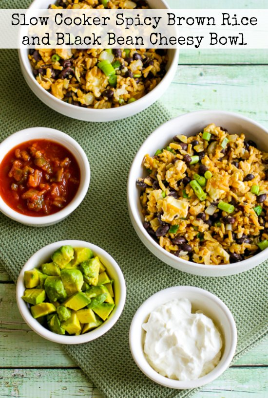 Slow Cooker Spicy Brown Rice and Black Bean Cheesy Bowl from Kalyn's Kitchen found on Slow Cooker or Pressure Cooker