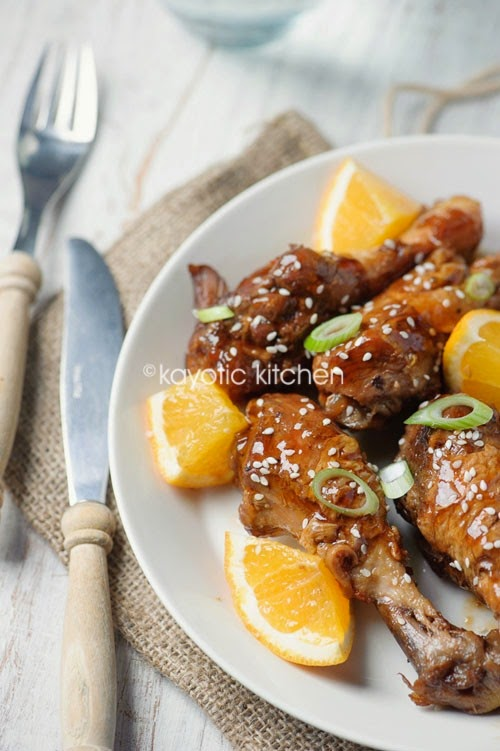 Slow Cooker Orange and Sesame Chicken Drumsticks from Kayotic Kitchen found on SlowCookerFromScratch.com